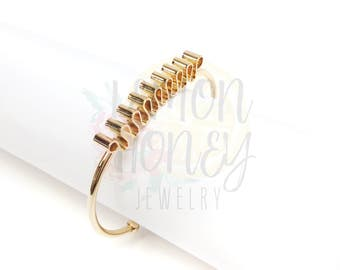 Gold Cuff Bracelet, Geometric Gold Jewelry Folded Top Bangle, Statement Bracelet, Gold Cuff, Dainty Bracelet, Jewelry, Minimalist Jewelry