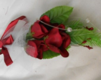 Set of 6 deep red triple roses  boutonniers or corsages