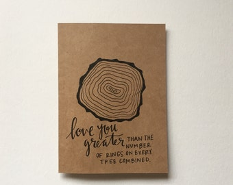 Love You Greater Tree Rings Greeting Card