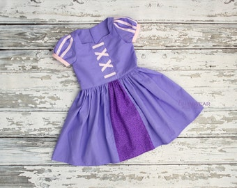 Rapunzel Inspired Dress Up Costume, Girl Toddler Princess Dress, Disney Vacation Dress, Play Dress, Sz 12m - 10