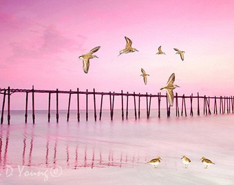 Ocean Art Print, Sandpipers, Ocean Beach and Dock, Pink Sunset, Shorebirds Flying, Pink and Gray, Nature Art Print, Fine Art Photography