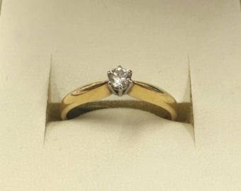 18ct Yellow Gold Solitaire Diamond Ring Size P 1/2