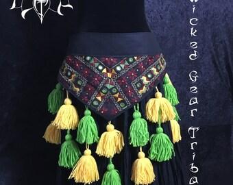 Plus sized ATS/ITS Tassel Belt, with pocket & removable 100% virgin wool tassels, Goddess size Tribal belly dance belt, ATS tassel belt