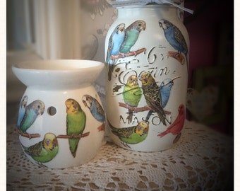 Sweetest budgie set to include Mason jar and candle melter, lovely quirky gift idea