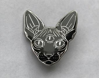 Black / metal enamel pin 'sphynx with third eye'