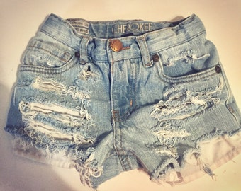 Light wash Destroyed denim shorts MADE TO ORDER