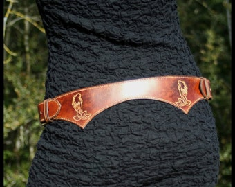 Woman vegetal leather belt Handmade / Leather belt woman