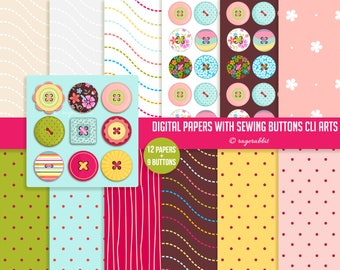 9 Sewing Buttons and 12 Digital Papers, Personal Use, Commercial Use