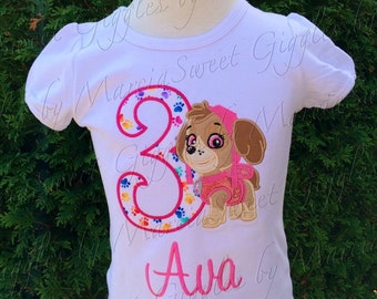 Skye Paw Patrol birthday shirt, handmade paw patrol birthday shirt, skye shirt