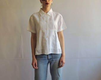 Vintage White Linen Button Up Short Sleeve Shirt