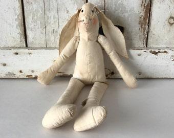 Tea-stained Vintage Plush Bunny Rabbit