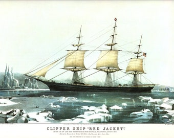 The Clipper Ship Red Jacket, an Extra Large  Currier and Ives Bookplate. The Page is 18 3/4 inches wide and 14 inches tall.
