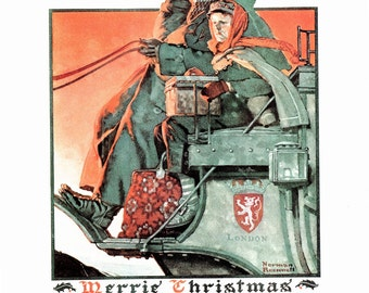 Merry Christmas Post Cover from Norman Rockwell Dec. 5, 1925. This page is approx. 11 1/2 inches wide and 15 inches tall.