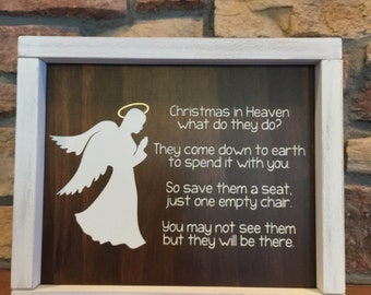 Christmas in Heaven - Heaven Sign - Christmas Decor - Memorial Sign - Heaven Poem - Memorial Gift - Empty Chair Poem - Remembrance Gift