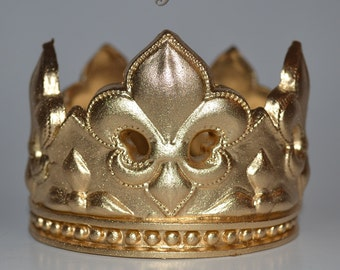 Small Gold Fleur de lis Gold Crown for Prince Party Cake