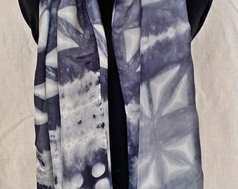 Hand painted silk scarf. Shibori