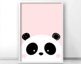 Panda Print, Digital Download Nursery Print, Baby Girl Nursery Art, Girls Room Art, Panda Nursery Decor, Instant Download Printable Nursery