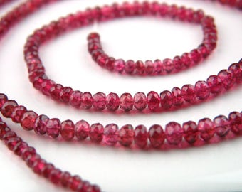 "AAA Natural Rubellite Pink Tourmaline Faceted Rondelles Utreated Genuine Gemstones October Birthstone 8"" Half Strand - Graduated 3.6 - 5mm"
