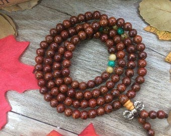 108 6mm Vintage Red Cracking Veinlet Round Bodhi Seeds Natural Plants Beads Japa Mala Necklace Buddhsim Prayer Beads Meditation Necklace