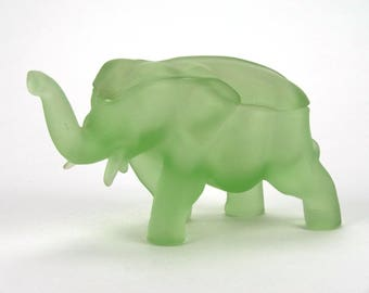 Frosted green glass elephant jar - Tiara Exclusive by the Indiana Glass company - American green glass elephant dish - Made in the USA