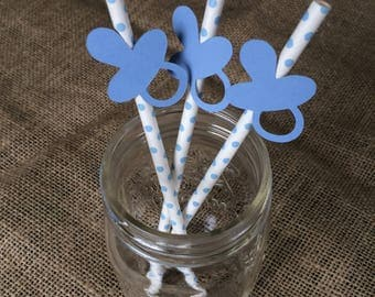 Blue pacifier straws
