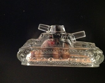 Miniature  Wartank Candy Container by Victory Glass
