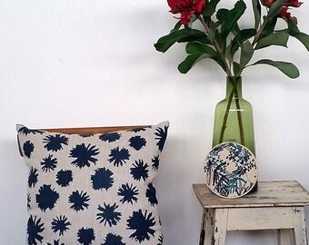 Cushion cover, linen, screen print, eco friendly paint, home decor, decorative pillows, pillow, cushion, femke textiles, nature, blue