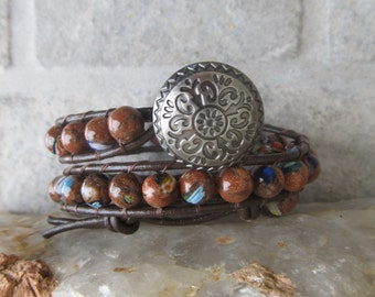 Leather Wrap bracelet, 2 x wrap bracelet, Brown leather wrap bracelet, Boho Wrap bracelet, Leather bracelet, Brown Wrap bracelet