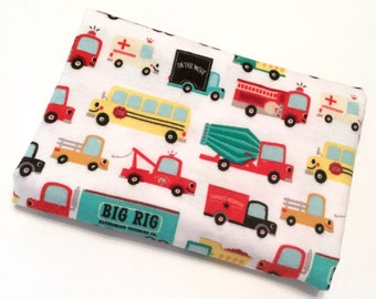 The wheels on the bus... XL baby blanket flannel wih smiling buses , trucks, fire trucks - toddler - infant - bedding