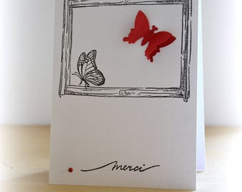 Thank you red butterfly, card thank you card