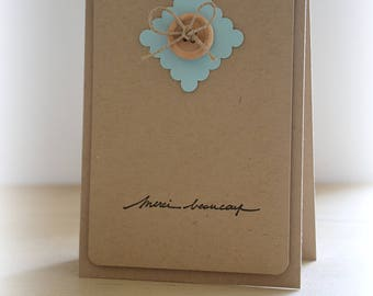 card thanks kraft wood and turquoise