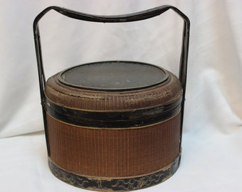 Antique Chinese Fruit Basket, Qing Dynasty. Chinese Newspaper inside! - OTH10012