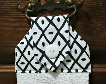 Black, white hanging hand towel, kitchen towel, decorative towel