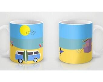 Surfer beach mug-Summer mug-Blue van mug-Seaside mug-Surf mug-Cool Surfer Mug-Coffee lover gift-Gift for him-Etsy gift-Colourful mug