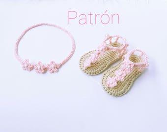Crochet Pattern Sandals & Baby Headband, Baby Sandals Pattern, Crochet Headband Pattern, Crochet Pattern PDF, Baby Headband Sandals