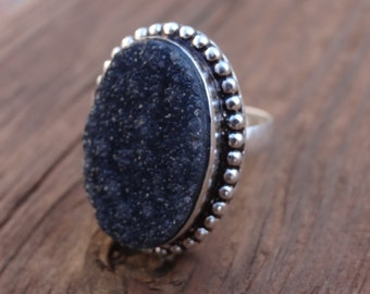 Statement BLACK Sterling Silver Druzy RING Size 8 - Natural Stone Druzy Agate RING - Druzy Ring - Agate Druzy -