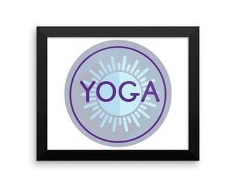 Framed Yoga Circle Art Mandala Blue And Purple Design