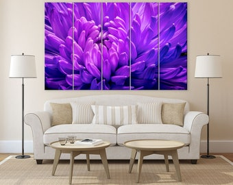 Purple abstract art print of fuji mum flower. Wall art for office of floral macro photography on multi panel canvas. 12x20 small wall canvas