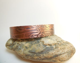 Mens bracelet, tree of life copper etched, hand-made, spiritual jewelry