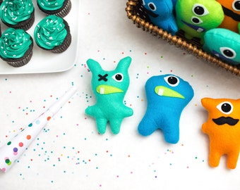 Set of 8+ Adopt a Monster Plush. Mini Stuffed Monster Party Favors. Felt Monsters. Monster Theme 1st birthday, First birthday party theme