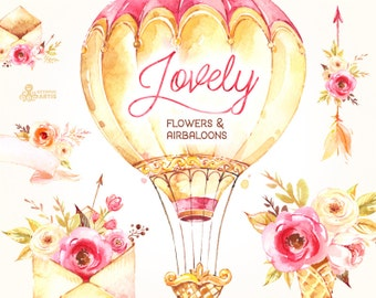 Lovely Flowers & Airbaloons. Watercolor Clipart, peonies, arrows, banners, envelopes, bouquets, valentines, wedding, floral, invite, diy