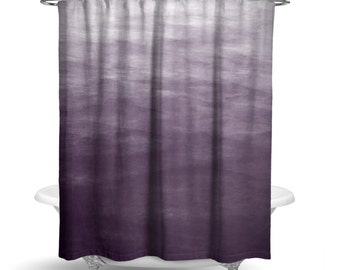 "Purple Ombre Watercolor Shower Curtain/  Bath Curtain / Standard Length (71""x74"" ) FABRIC SHOWER CURTAIN - Made To Order"