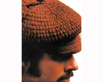 Men's Hat Vintage Crochet Pattern Deerstalker Earflaps on Newsboy Cap PDF Instant Download SKU 74-4