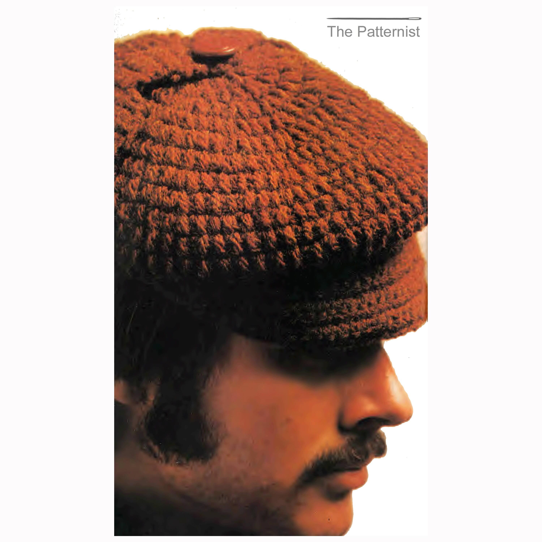 Mens hat vintage crochet pattern deerstalker earflaps on newsboy this is a digital file bankloansurffo Gallery