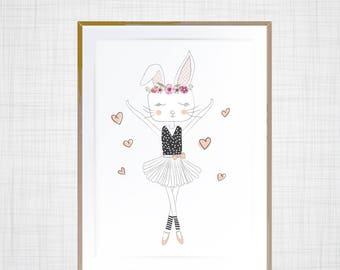 Dancing Ballerina Bunny kids decor wall print
