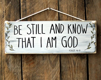 Bible verse wall art, Be still and know that I am God, Scripture wall art wood, Scripture sign, Scripture wood sign, Christian wall art.