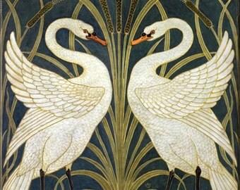 """6"""" X 6"""" Ceramic Accent Tile Art Noveau White Swans"""