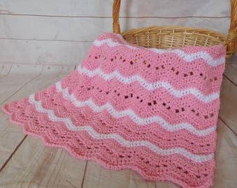 Ready to ship Baby crochet blanket - pink baby blanket - pink baby bedding - baby girl nursery decor - baby shower gift