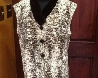 Rose beige sheared beaver vest
