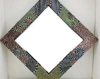 Boho Mirror -Hand Painted Rose Gold - Black - Turquoise - - 10 1/2 x 10 1/12